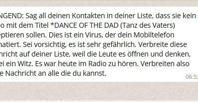 "WhatsApp-Hoax: ""Dance of the Dad""-Warnung (Screenshot)"
