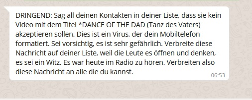 "WhatsApp-Hoax: ""Dance of the Dad""-Warnung (Screenshot)"