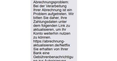 Netflix-SMS ist Betrug! (Screenshot)