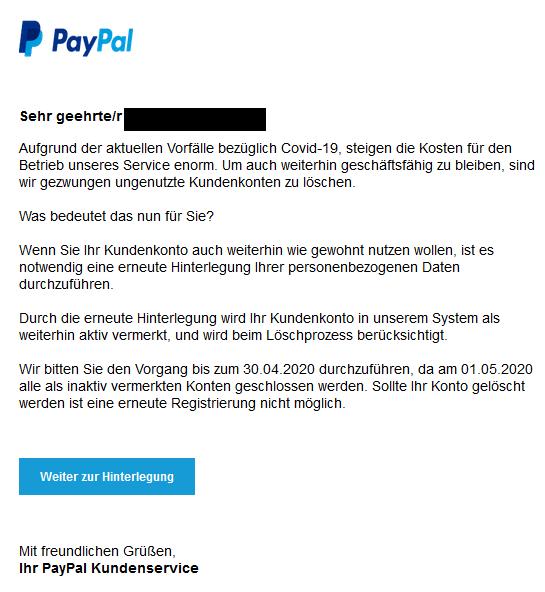 PayPal-Fake: Löschung von Accounts wegen Corona (Foto: verbraucherzentrale.nrw)