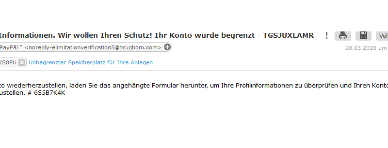 Achtung, PayPal-Phishing (Screenshot)