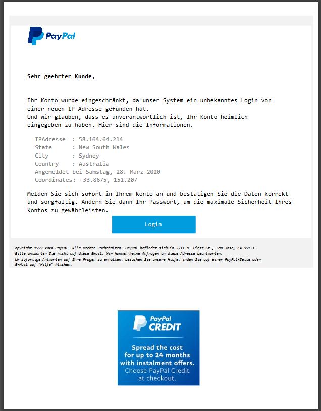PayPal-Phishing  angehängte Phishing-PDF (Screenshot)