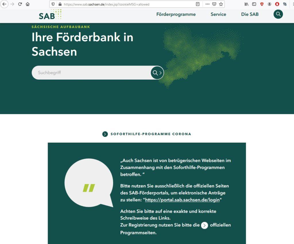 Seriöse Seite für staatliche Corona-Soforthilfe (Screenshot sab.sachsen.de)