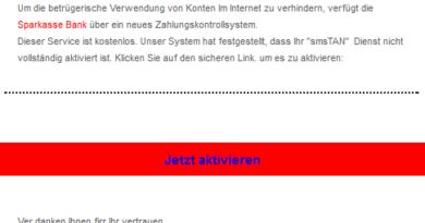 """Sparkasse-Phishing: """"... neues Zahlungskontrollsystem ..."""" (Foto verbraucherzentrale.nrw)"""