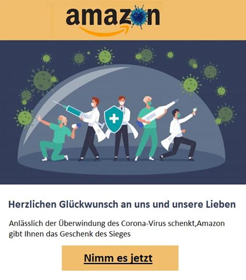 Fake-Amazon-Gewinnspiel: Geschenk des Sieges (Screenshot)