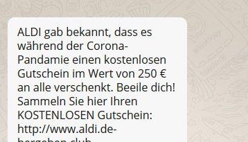 ALDI-Gutschein wegen Corona (Screenshot)