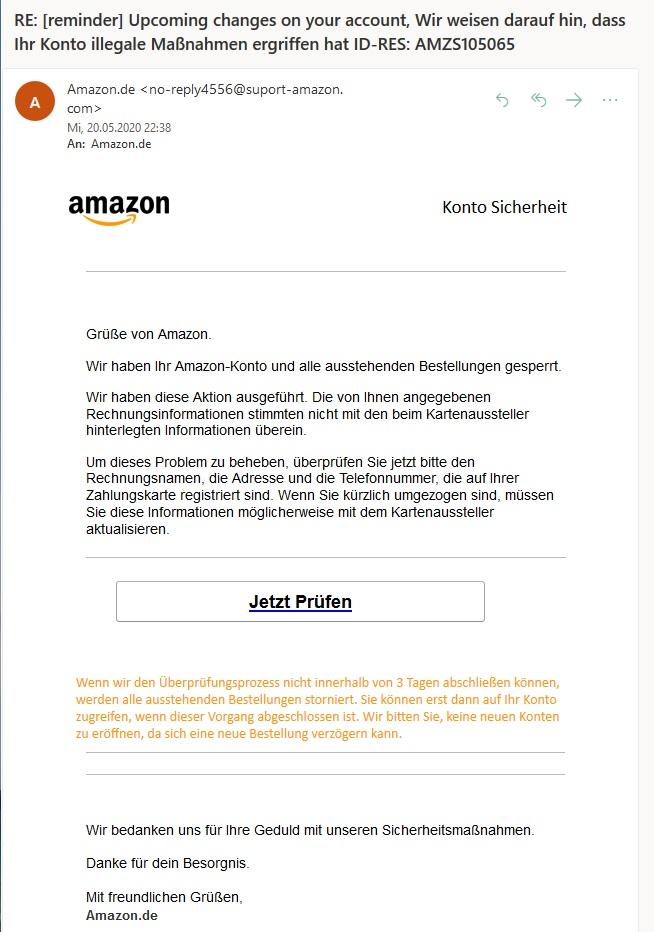 Amazon-Phishing: Illegale Maßnahmen Ihres Kontos!? (Screenshot)
