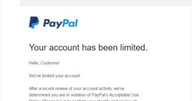 PayPal-Fake benachrichtigt über gesperrtes Konto (Screenshot)