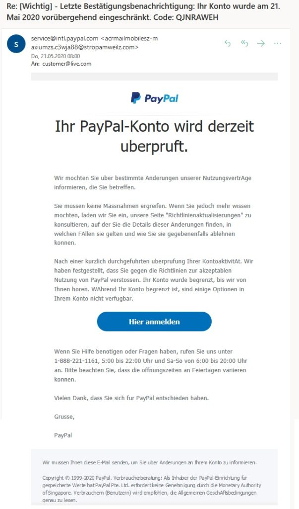 PayPal-Phishing: bestimmte Anderungen unserer NutzungsvertrAge (Screenshot)