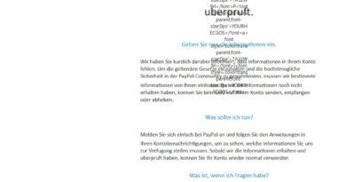 PayPal-Phishing Konto wird derzeit uberpruft (Screenshot)