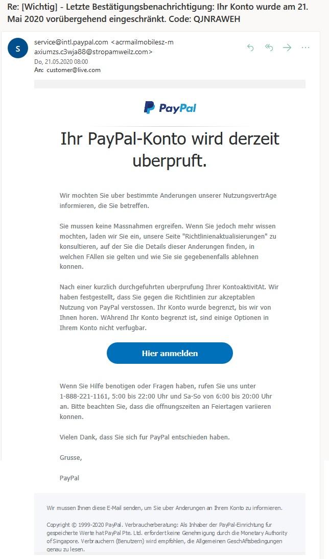 Paypal Sicherheitswarnung