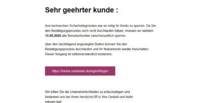 Santander-Phishing: Bestätigungsprozess nicht durchlaufen (Foto verbraucherzentrale.nrw)
