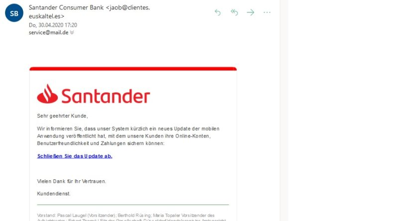 "Santander-Phishing: ""Neues UPDATE"" (Screenshot)"