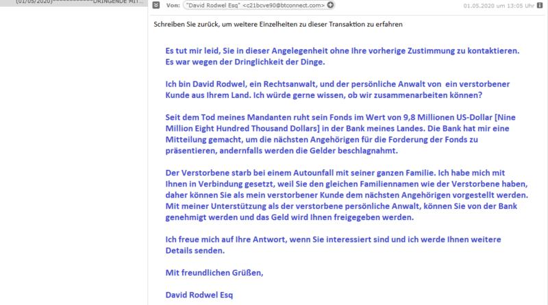 Vorschussbetrug - DRINGENDE MITTEILUNG (Screenshot)