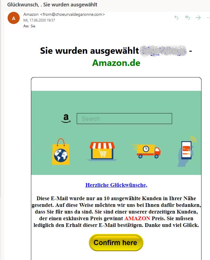 Amazon-Phishing: Glück für 10 ausgewählte Kunden? (Screenshot)