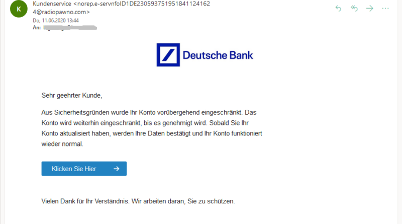 Achtung, Deutsche-Bank-Phishing (Screenshot)