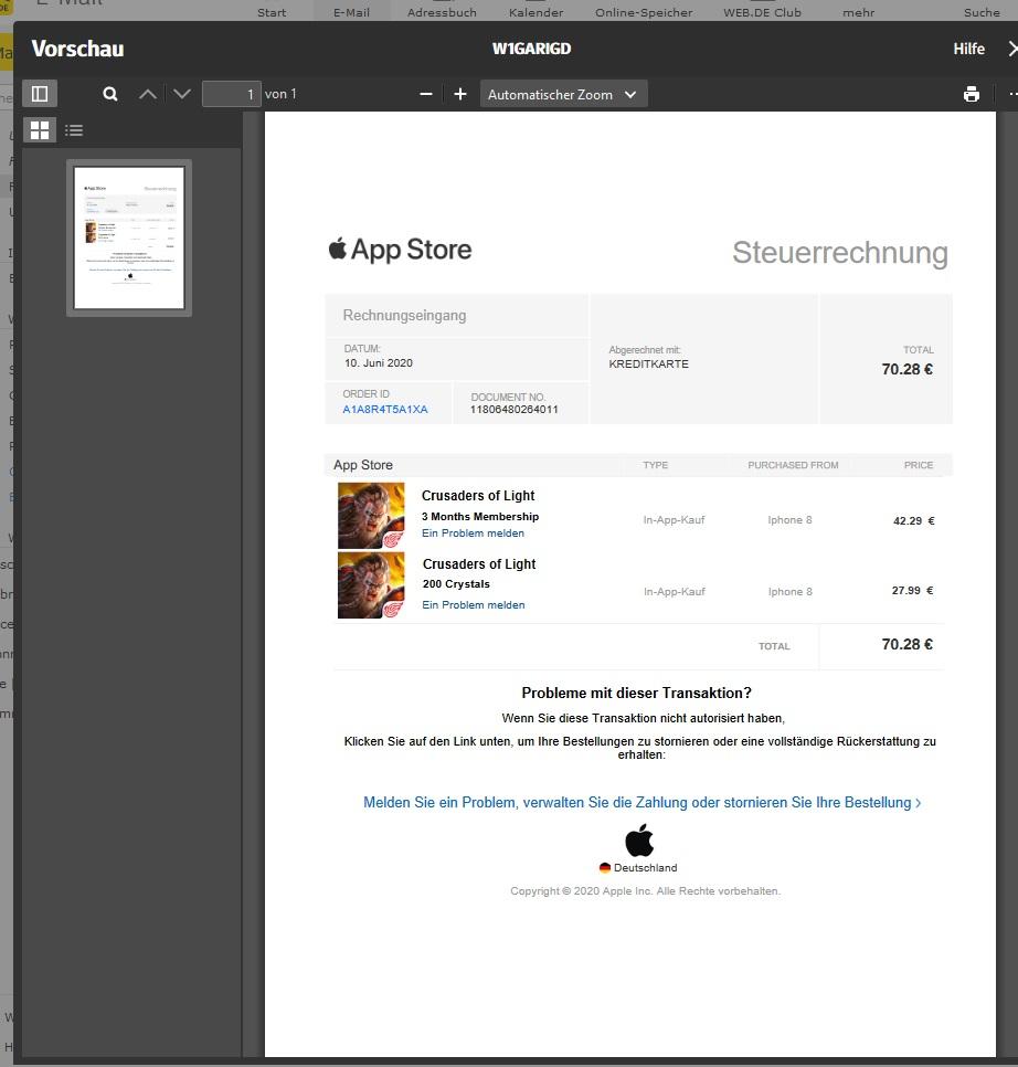 Fake-Rechnung von Apple (Screenshot)