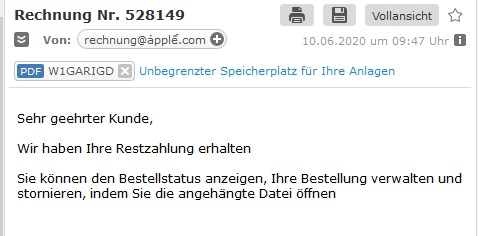 Fake-Rechnung von Apple (Screenshot)