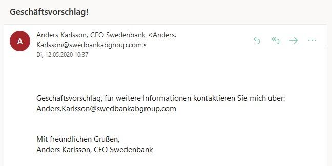 Geschäftsvorschlag von Anders Karlsson (Screenshot)