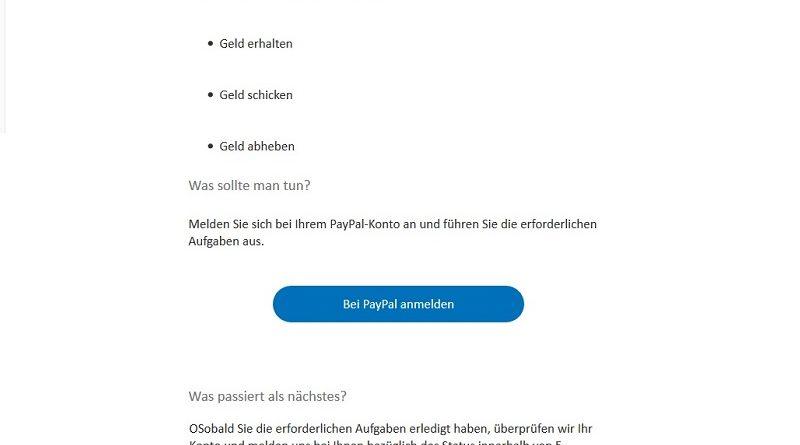 PayPal-Phishing: Vorübergehende Beschränkung (Screenshot)