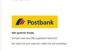 Postbank-Phishing: neue Nachricht (Screenshot)
