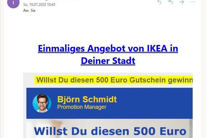 500 Euro Ikea Gutschein gewinnen? (Screenshot)