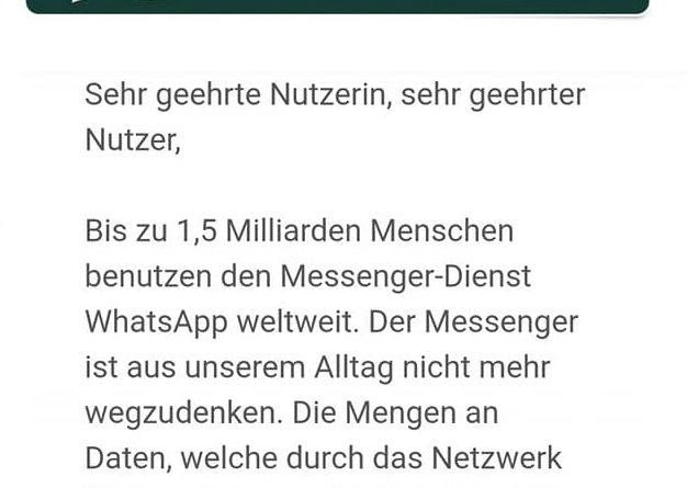 Achtung, WhatsApp-Phishing (Screenshot)
