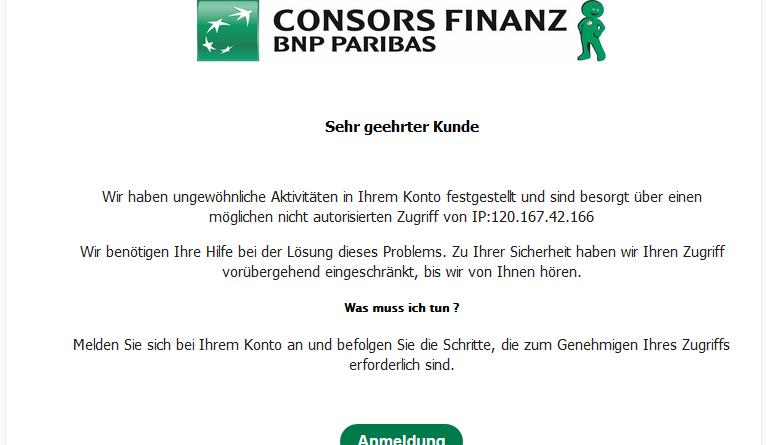 """ConsorsFinanz Phishing: """"Ungewöhnliche Aktivitäten in Ihrem Konto"""" (Screenshot)"""