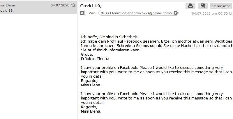 Covid 19 (Screenshot)