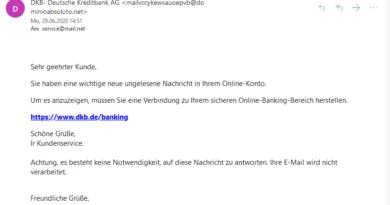 DKB Phishing (Screenshot)