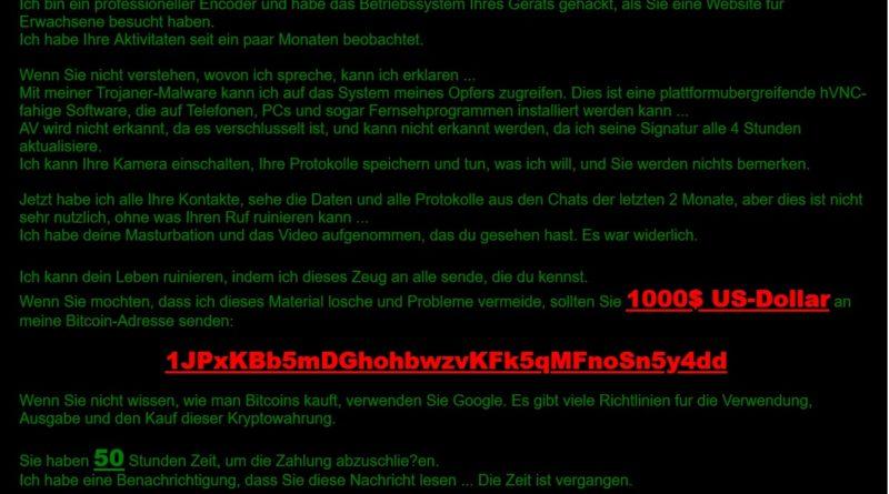 Erpresserische E-Mail ist ein reiner Fake! (Screenshot)