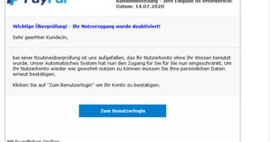 """Wieder PayPal-Phishing: """"Ihre Eingabe ist erforderlich!"""" (Screenshot)"""