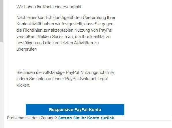 """PayPal-Phishing: """"Ihr Konto wurde begrenzt"""" (Screenshot)"""