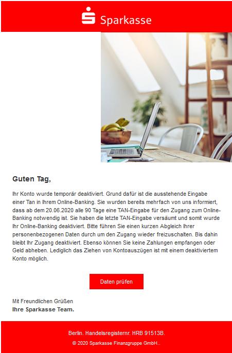 Sparkasse-Phishing (Foto verbraucherzentrale.nrw)