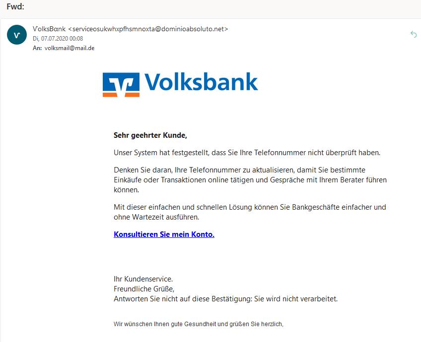 Volksbank-Phishing: Telefonnummer überprüfen? (Screenshot)