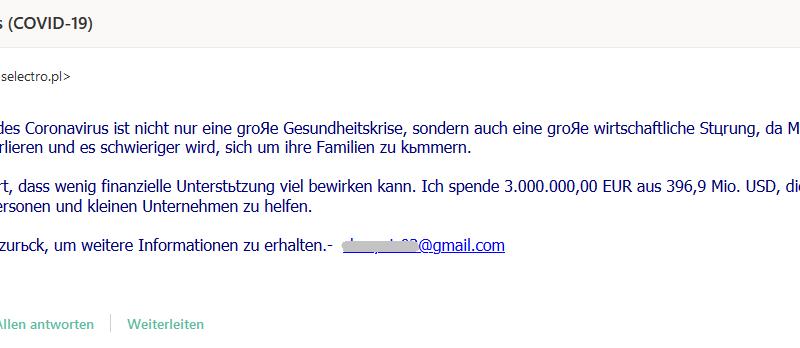 Vorschussbetrug mit COVID-19-Unterstützung (Screenshot)