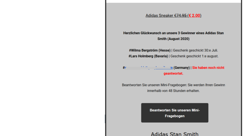 Abofalle mit Adidas Stan Smith Sneaker (Screenshot)