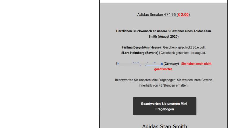 Abofalle mit Adidas Stan Smith Sneaker (Screenshot)