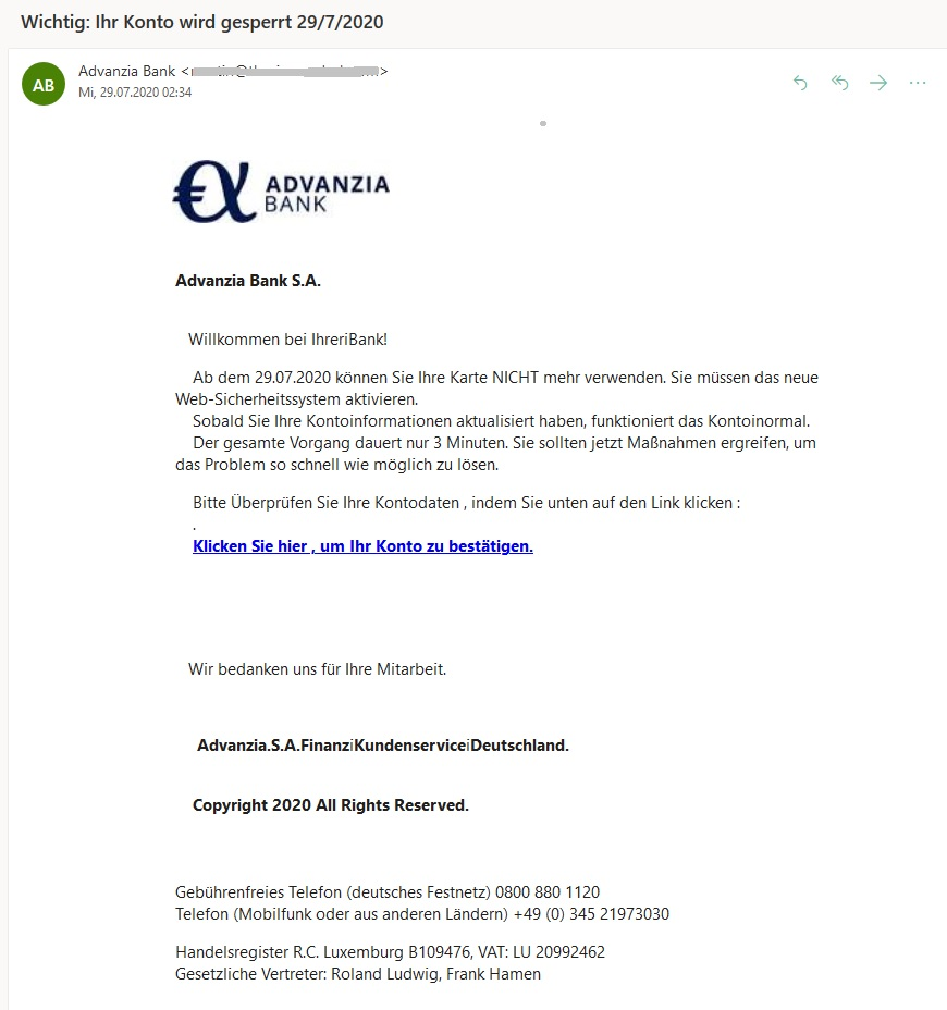 Advanzia Phishing: Ihr Konto wird gesperrt (Screenshot)