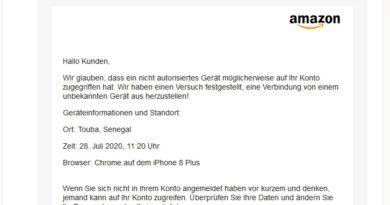 "Vorsicht! Amazon-Phishing: ""E-Mail-Bericht Amazon"" (Screenshot)"