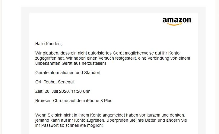 "Vorsicht! Amazon-Phishing: ""E-Mail-Bericht Amazon"" (Screenshot)"