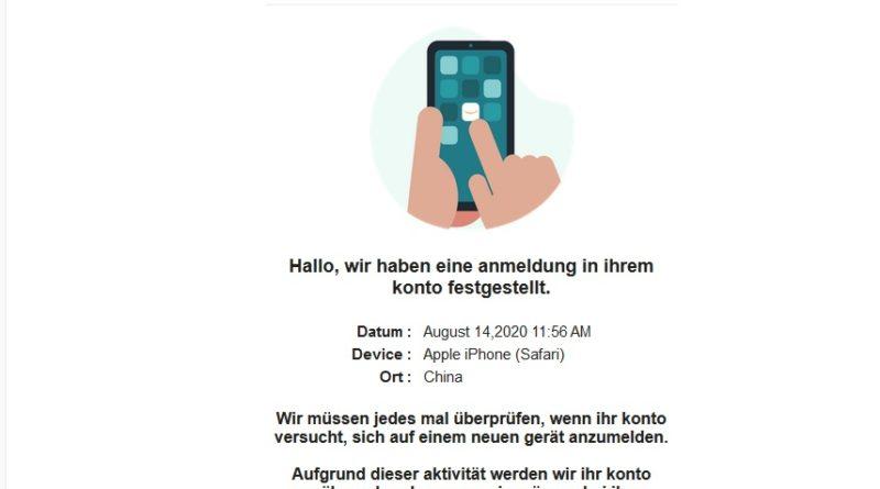 "Vorsicht! Amazon-Phishing: ""E͏rk͏lä͏ru͏ng ü͏b͏er ne͏ue A͏n͏meld͏evers͏uch͏e"" (Screenshot)"