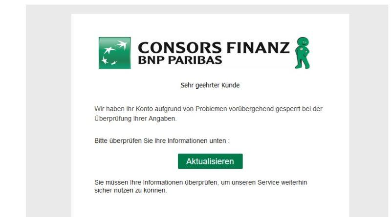 "ConsorsFinanz Phishing: ""Ihr Konto wurde gesperrt"" (Screenshot)"