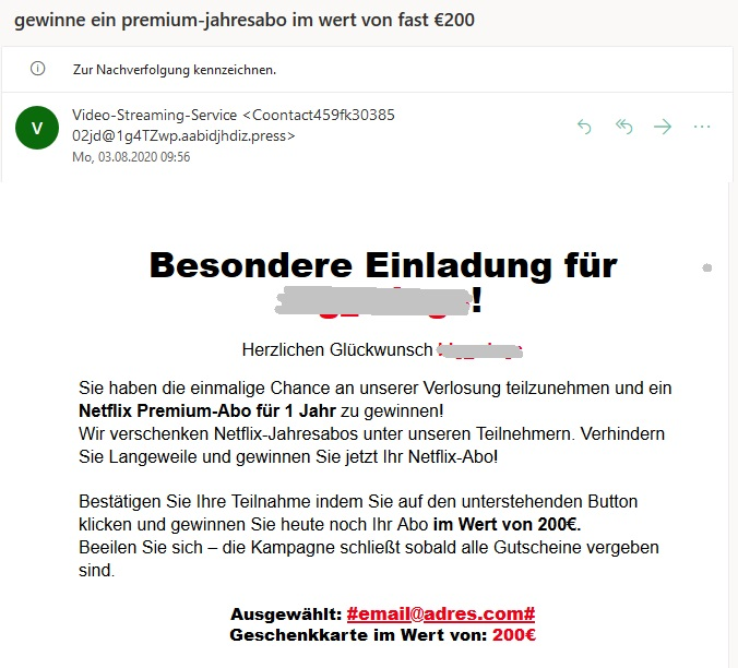 Netflix-Jahresabo gewinnen? (Screenshot)