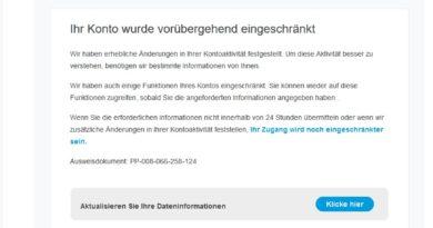 "PayPal-Phishing: ""Anmeldung zur Kontoauszugsaktualisierung"" (Screenshot)"
