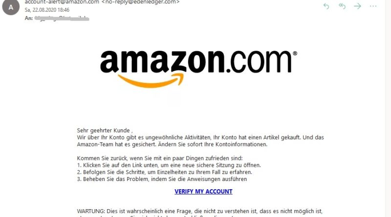 Amazon-Phishing: Problem mit E-Mail (Screenshot)
