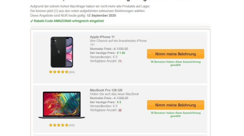 Belohnung Amazon-Kundenumfrage