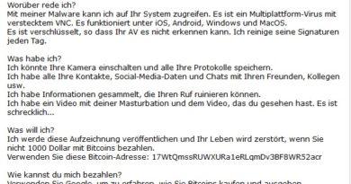 """Bitcoins-Erpressung: """"Informationen, die Ihren Ruf ruinieren"""" (Screenshot)"""