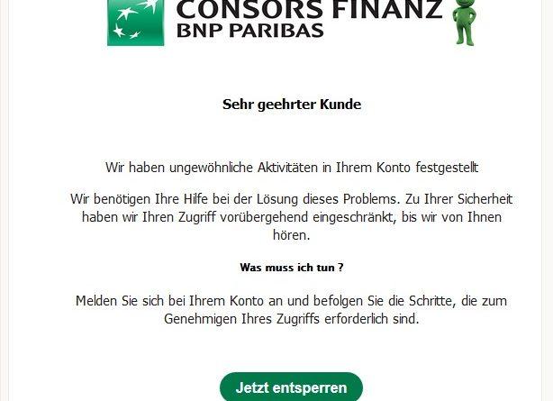 """ConsorsFinanz Phishing: """"Schalte dein Konto frei"""" (Screenshot)"""