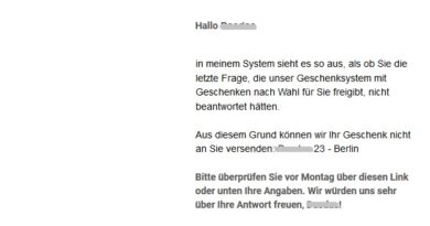 Gewinnspiel-Falle: Kollegen nicht geantwortet (Screenshot)